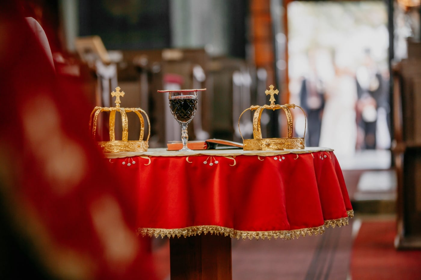 wedding, coronation, religious, tradition, gold, crowd, red wine, church, ceremony, interior design