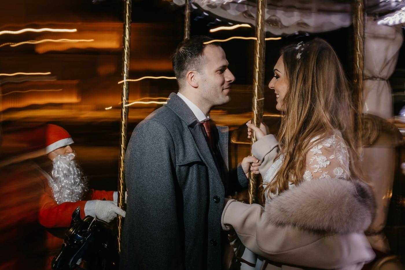 love date, new year, christmas, girlfriend, boyfriend, carousel, people, woman, man, portrait