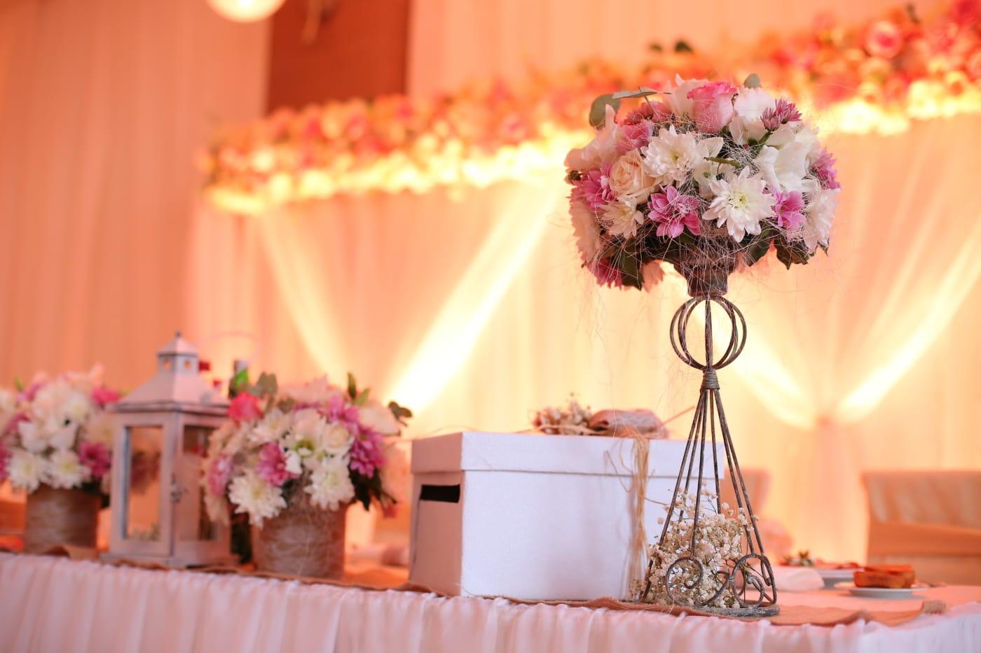 romantique, réception, décoration, mariage, salle de mariage, fleurs, luxe, bouquet, Design d'intérieur, élégant