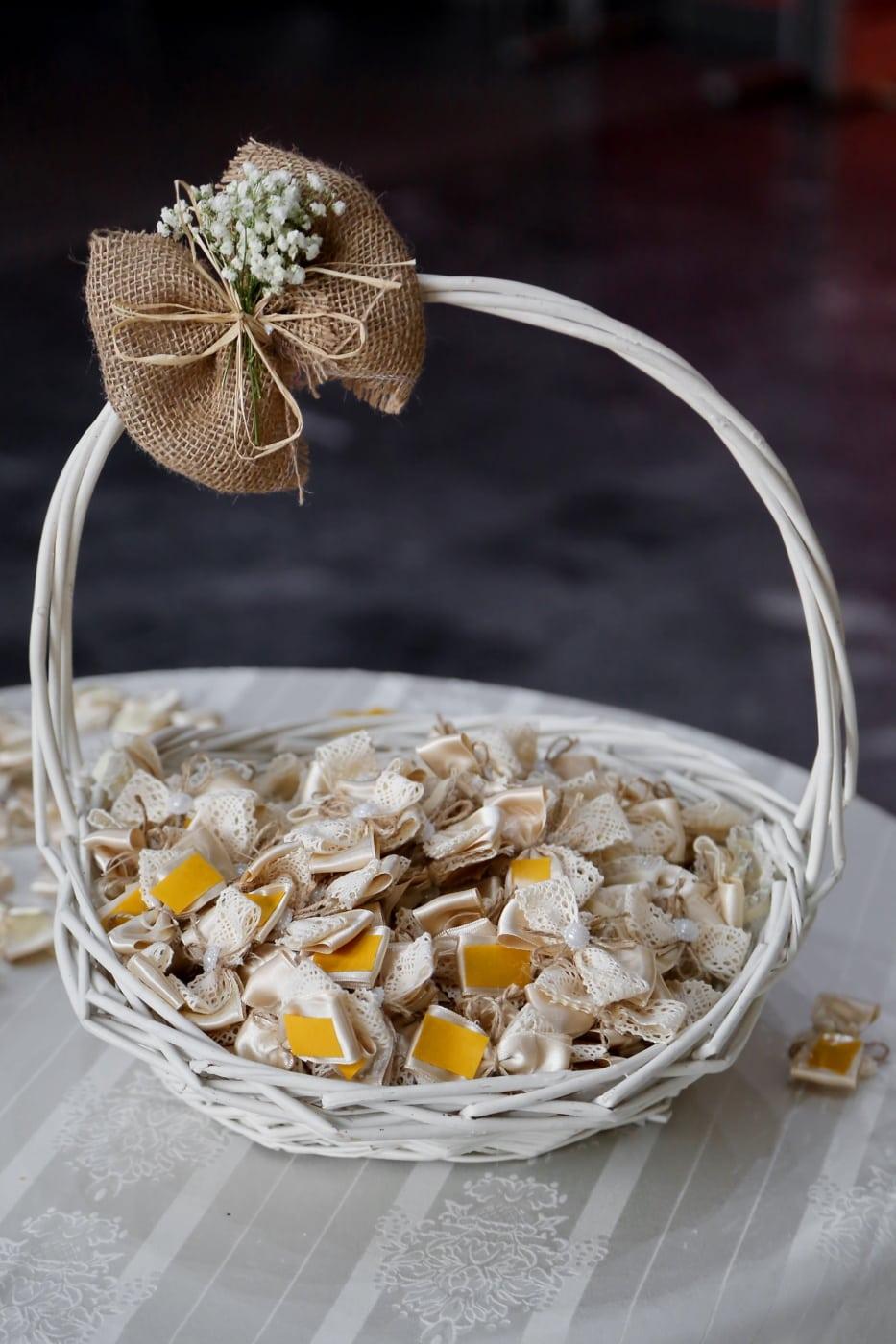ajándékok, romantikus, Valentin-nap, fonott kosár, dekoratív, fehér, kézzel készített, hagyományos, fa, Csendélet