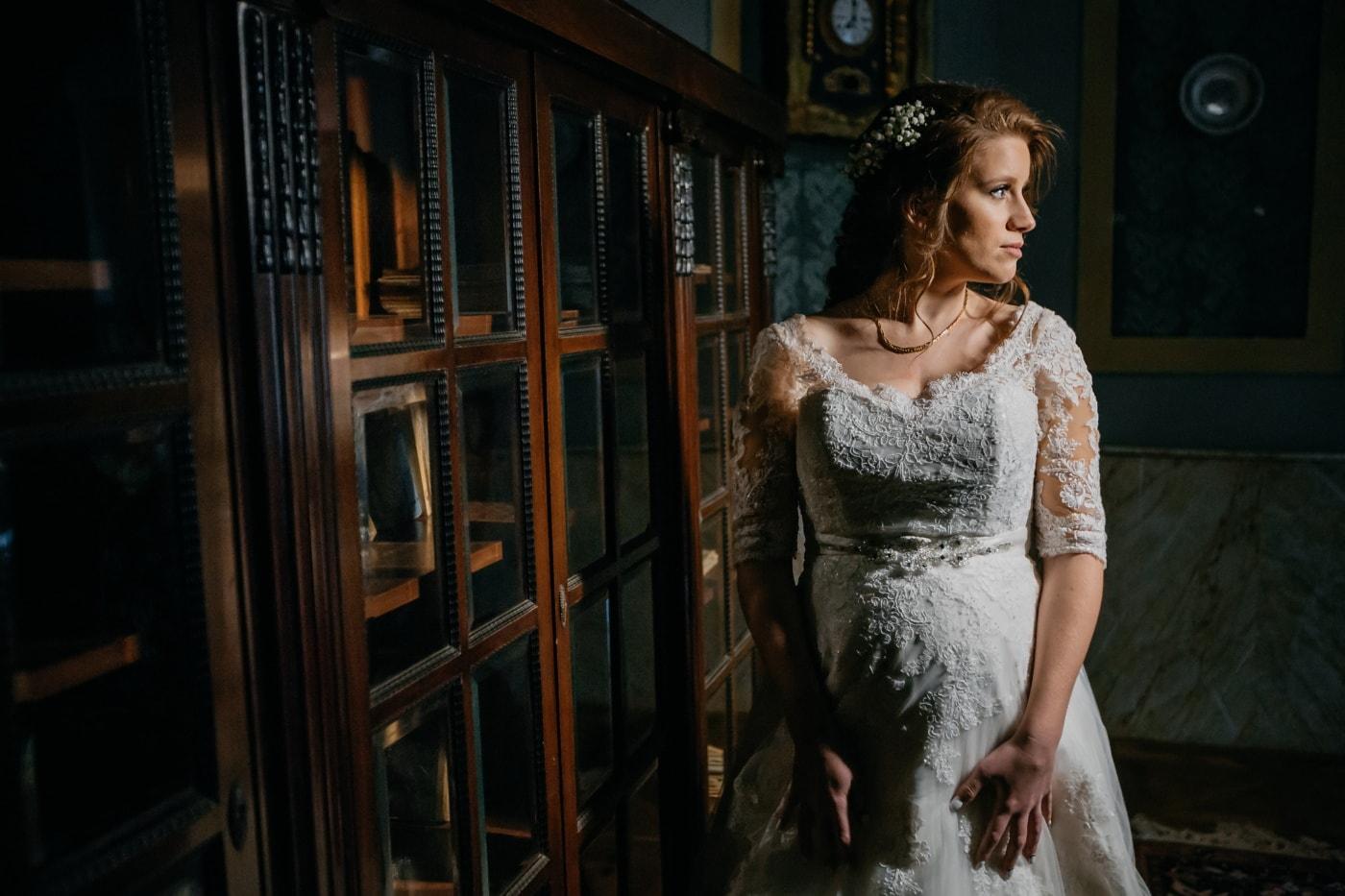 baroque, salon, bride, wedding dress, gorgeous, brunette, fashion, portrait, woman, girl