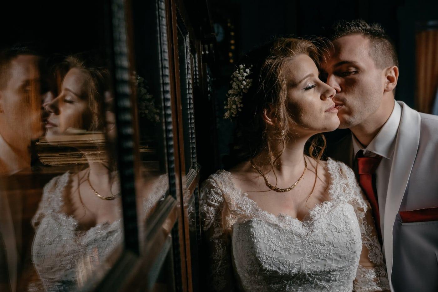 bride, tenderness, affection, kiss, groom, gorgeous, brunette, love, people, woman