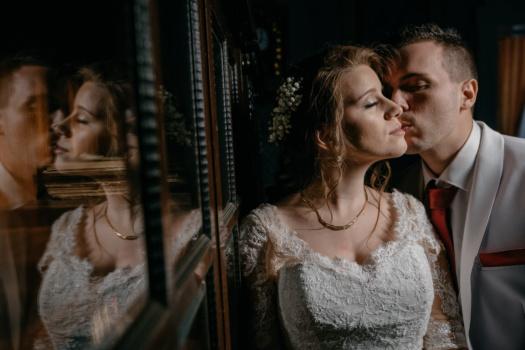 Pengantin, kelembutan, kasih sayang, Cium, pengantin pria, cantik, si rambut coklat, Cinta, orang-orang, wanita