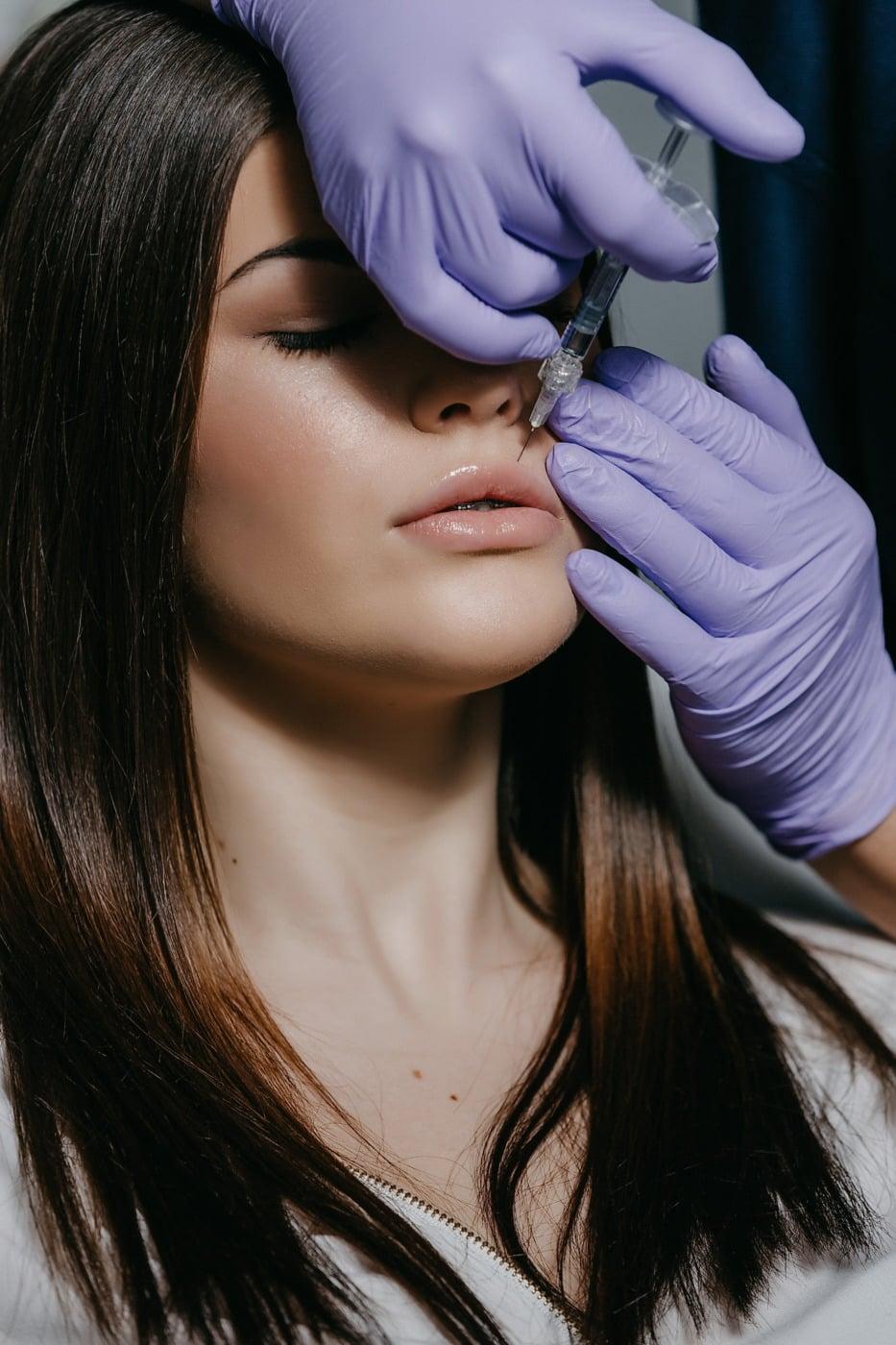 anestesia, kädet, upea, kosmetiikka, nätti tyttö, kasvot, Kosmetologi, iho, käsineet, pää