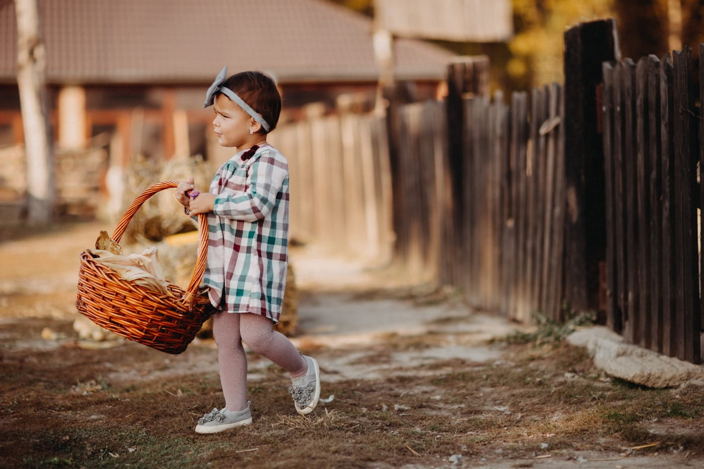 young, child, walking, village, wicker basket, farmland, people, portrait, girl, street