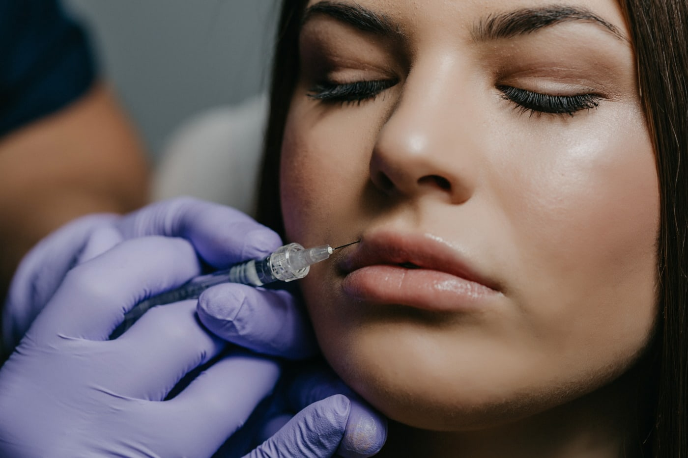 silicone, mouth, injection, syringe, face, woman, portrait, makeup, fashion, lips