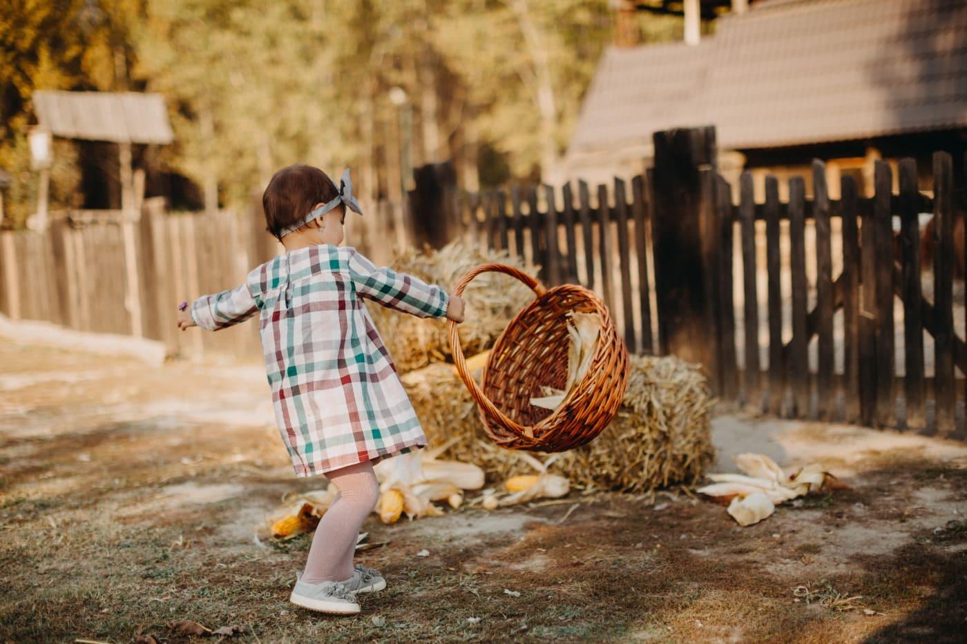 disfrute, pajar, hay, felicidad, infancia, aldea, nina bonita, granero, niño, chica