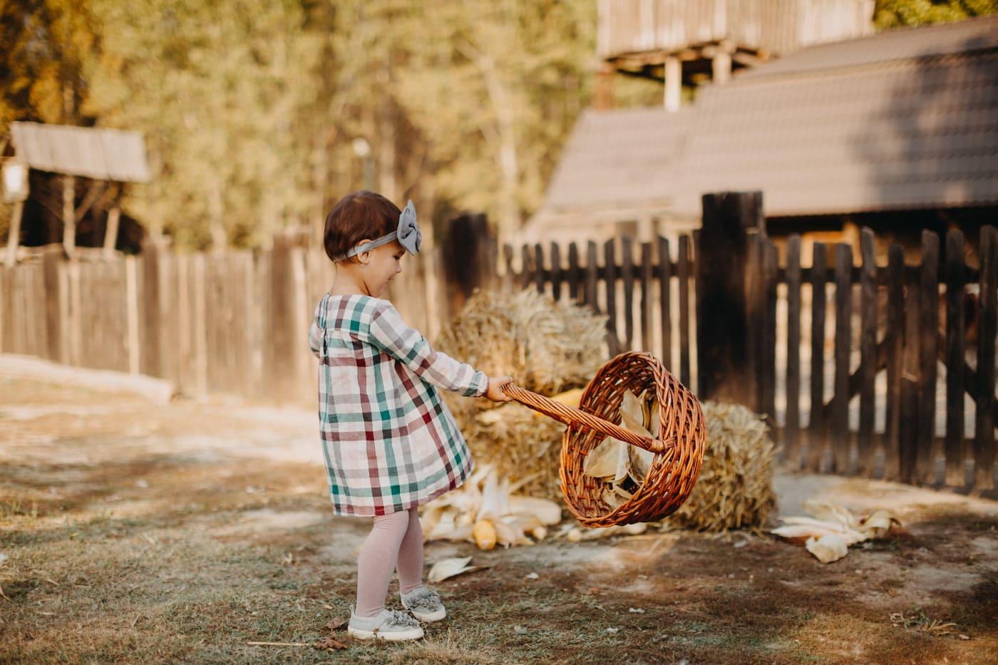 infância, feliz, criança, celeiro, vila, feno, menina, natureza, ao ar livre, retrato