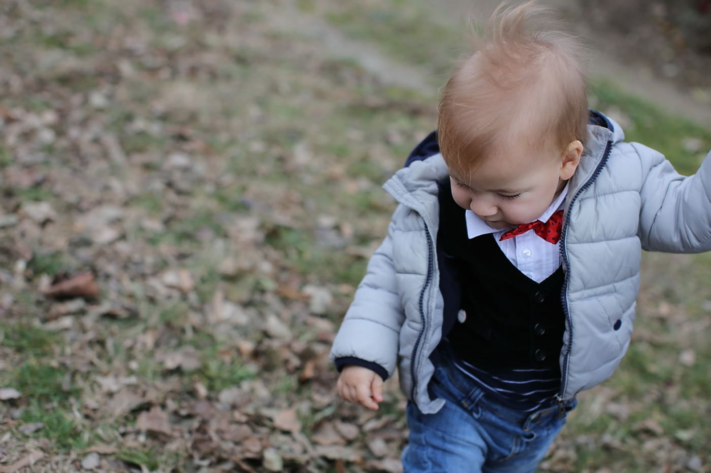 toddler, tie, tuxedo suit, jacket, kid, child, grass, childhood, cute, smile