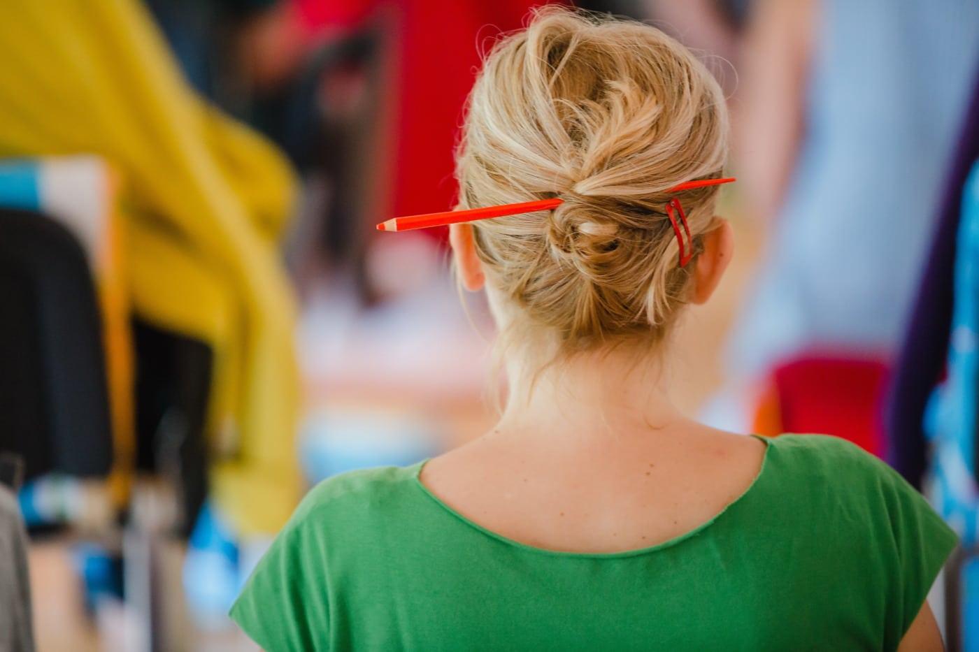 fryzurę, salon fryzjerski, blond włosy, Blondynka, włosy, ołówek, portret, ludzie, Kobieta, Dziewczyna