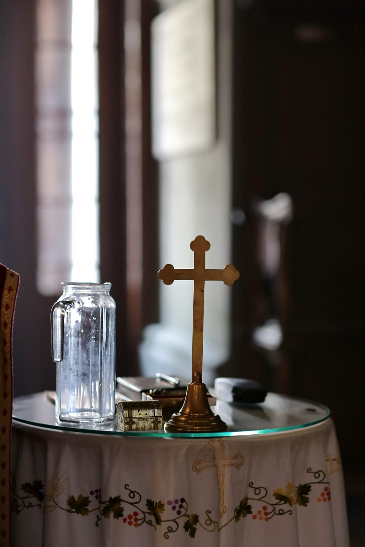glassware, glass, pitcher, church, inside, cross, indoors, religion, interior design, wedding