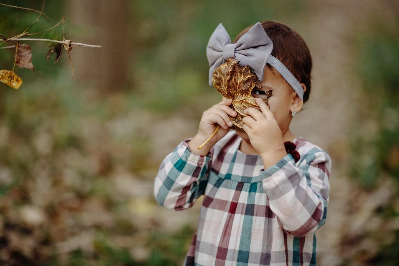 jeune fille, mignon, enfant, brun jaunâtre, saison de l'automne, congé, visage, à la recherche, œil, nature