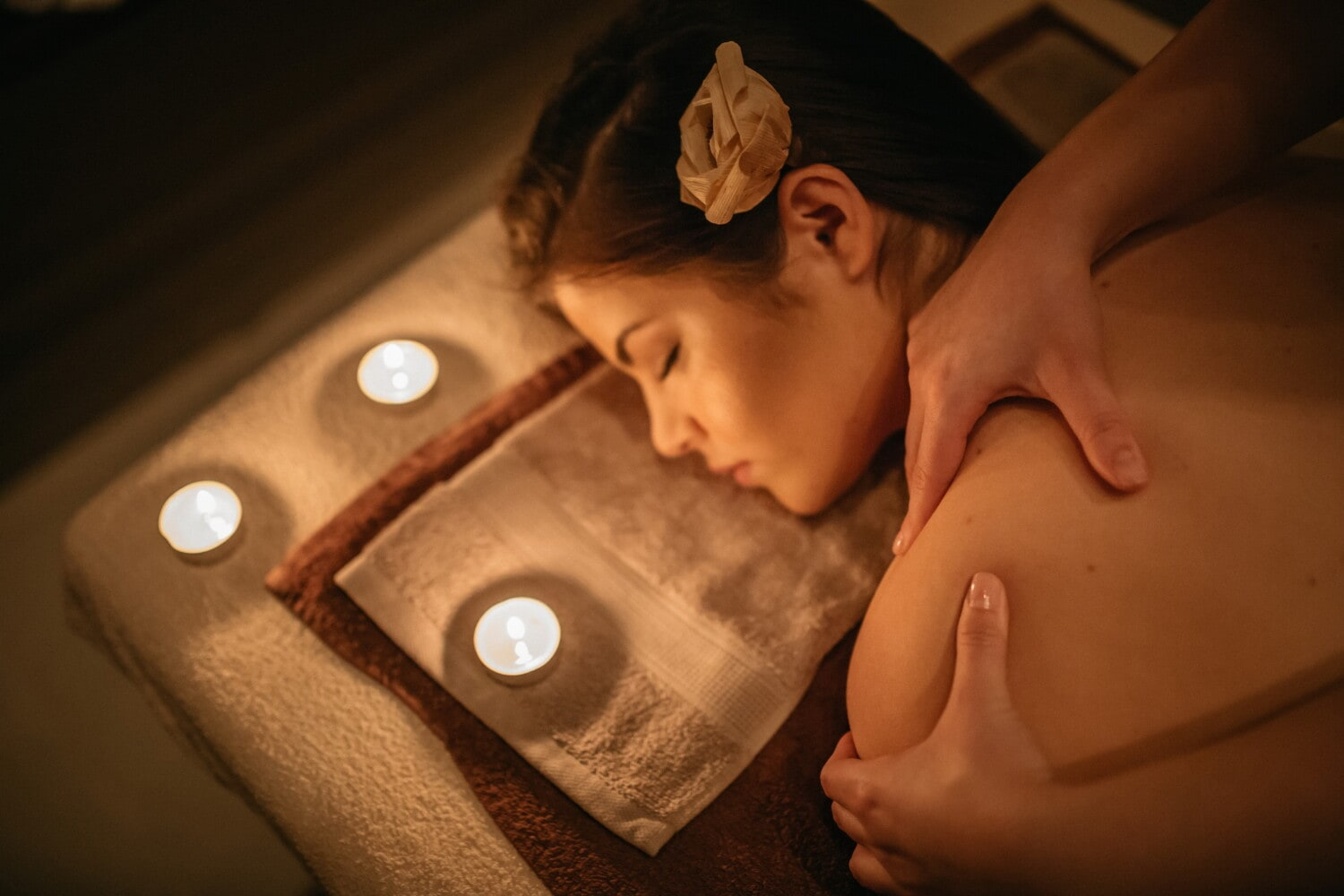 spa center, pretty girl, intimate, shoulder, massage, relaxation, candles, candlelight, lying, woman