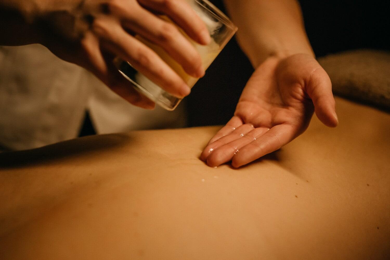 huile, esthéticienne, massage, mains, peau, corps, relaxation, Salon, traitement, femme