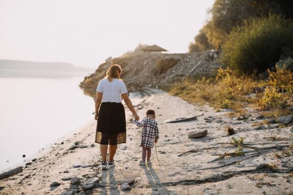 moderskab, mor, datter, floden, nydelse, samvær, flodbredden, gå, familie, Pige