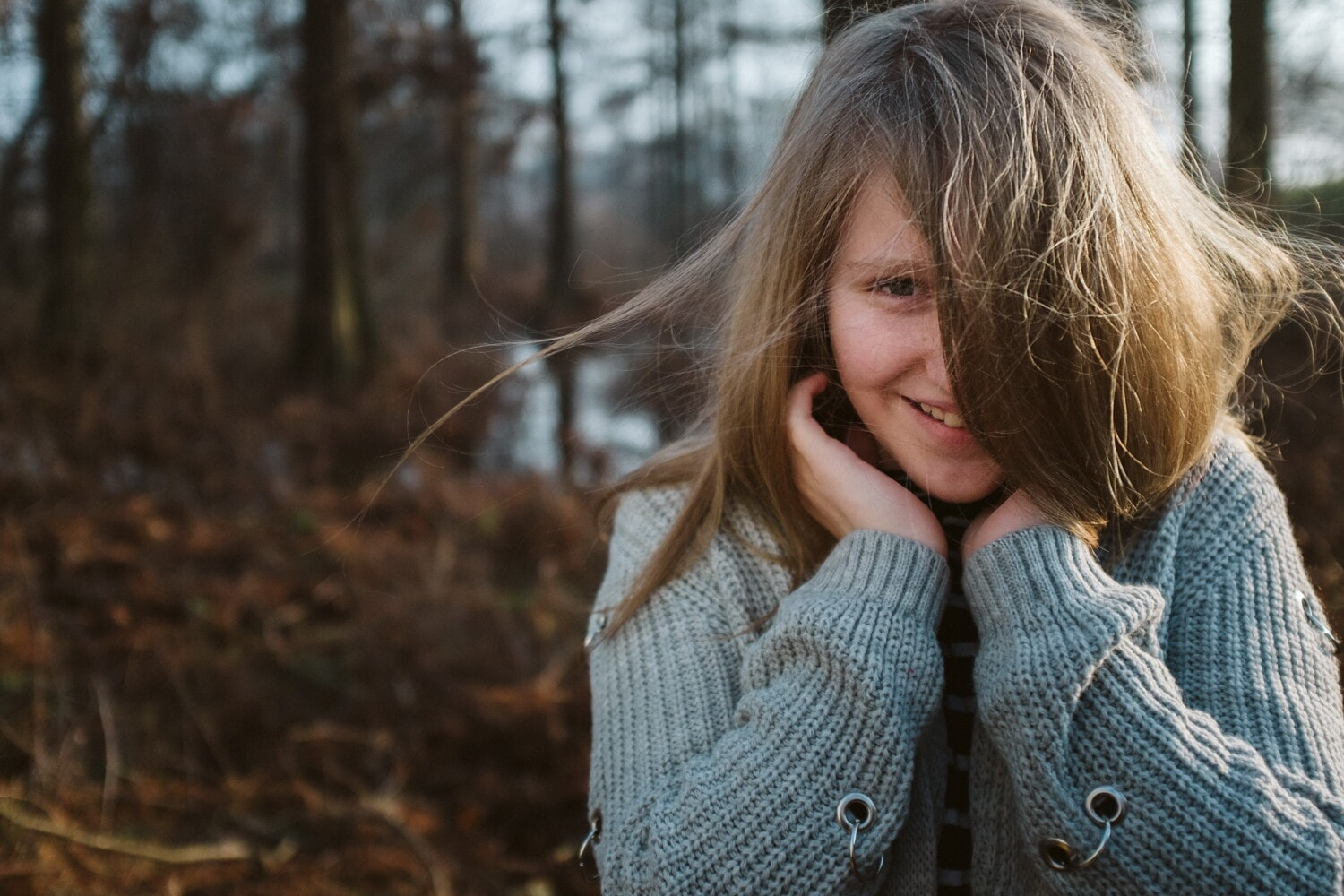 emotion, happiness, teenager, girl, portrait, hair, cardigan, nature, sweater, outdoors