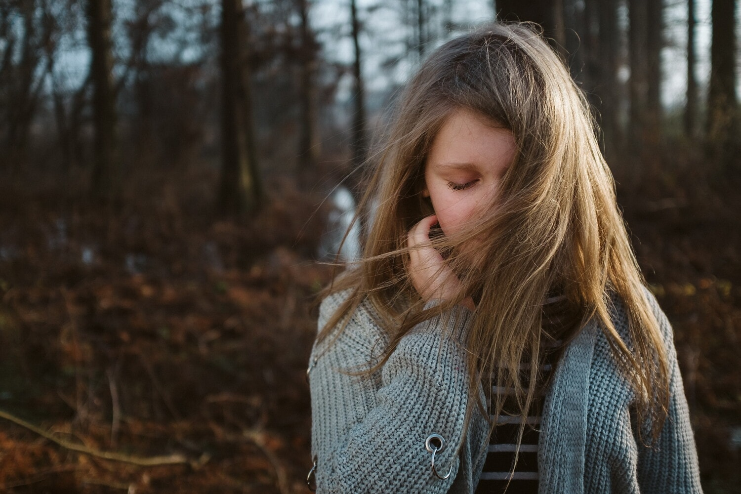 young, blonde, teenager, portrait, face, sweater, girl, nature, woman, hair