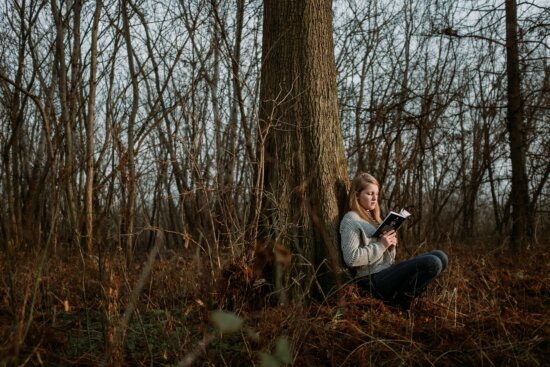 girl, teenager, reading, book, forest, nature, tree, wood, park, leaf