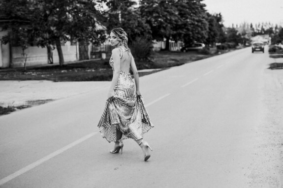 woman, crossroads, crossing over, asphalt, road, clothing, street, skirt, people, garment