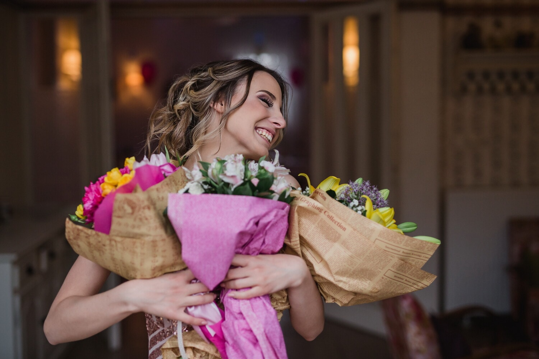 happy, girl, shopping, flowers, woman, flower, people, pretty, portrait, indoors