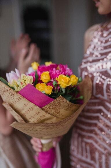 newspaper, paper, bouquet, roses, flower, decoration, arrangement, woman, nature, indoors