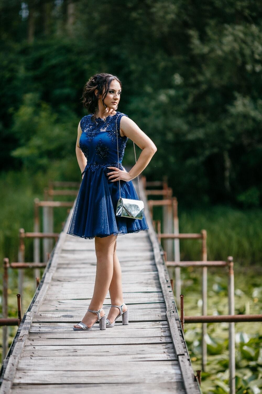 pretty girl, skirt, blue, slim, handbag, posing, girl, nature, woman, fashion
