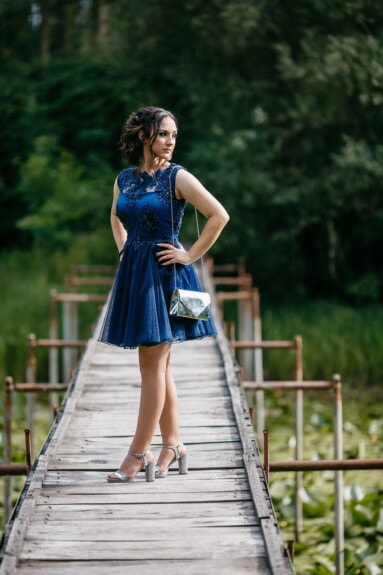 pretty girl, skirt, blue, slim, handbag, posing, girl, nature, woman, fashion