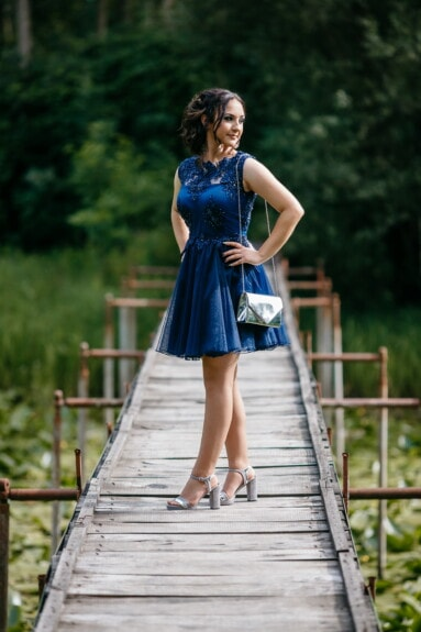 pretty girl, smiling, posing, bridge, landscape, fashion, girl, summer, nature, woman