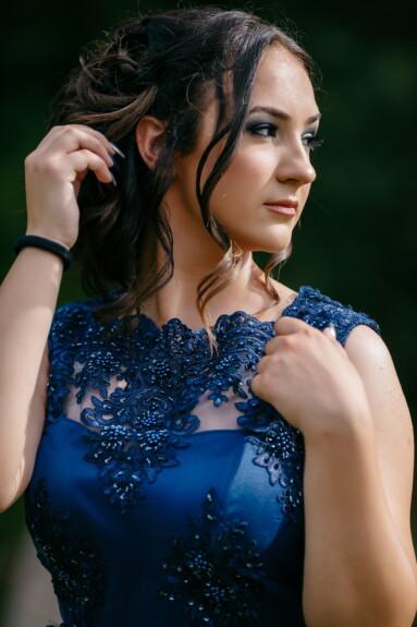 侧面视图, 肖像, 近距离, 漂亮女孩, 发型, 蓝色, 穿衣服, 魅力, 时尚, 女人