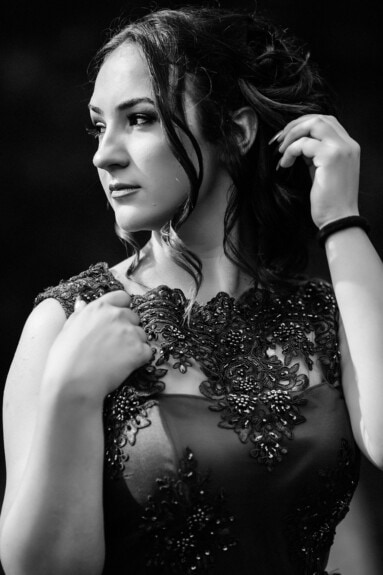 monochrome, portrait, pretty girl, hairstyle, face, fashion, dress, glamour, lady, model