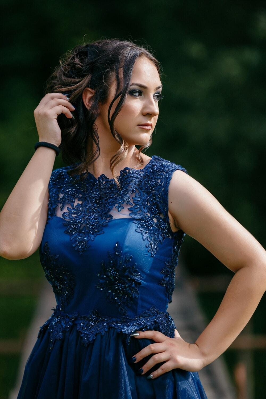 glamour, fashion, blue, dress, posing, young woman, woman, model, portrait, nature