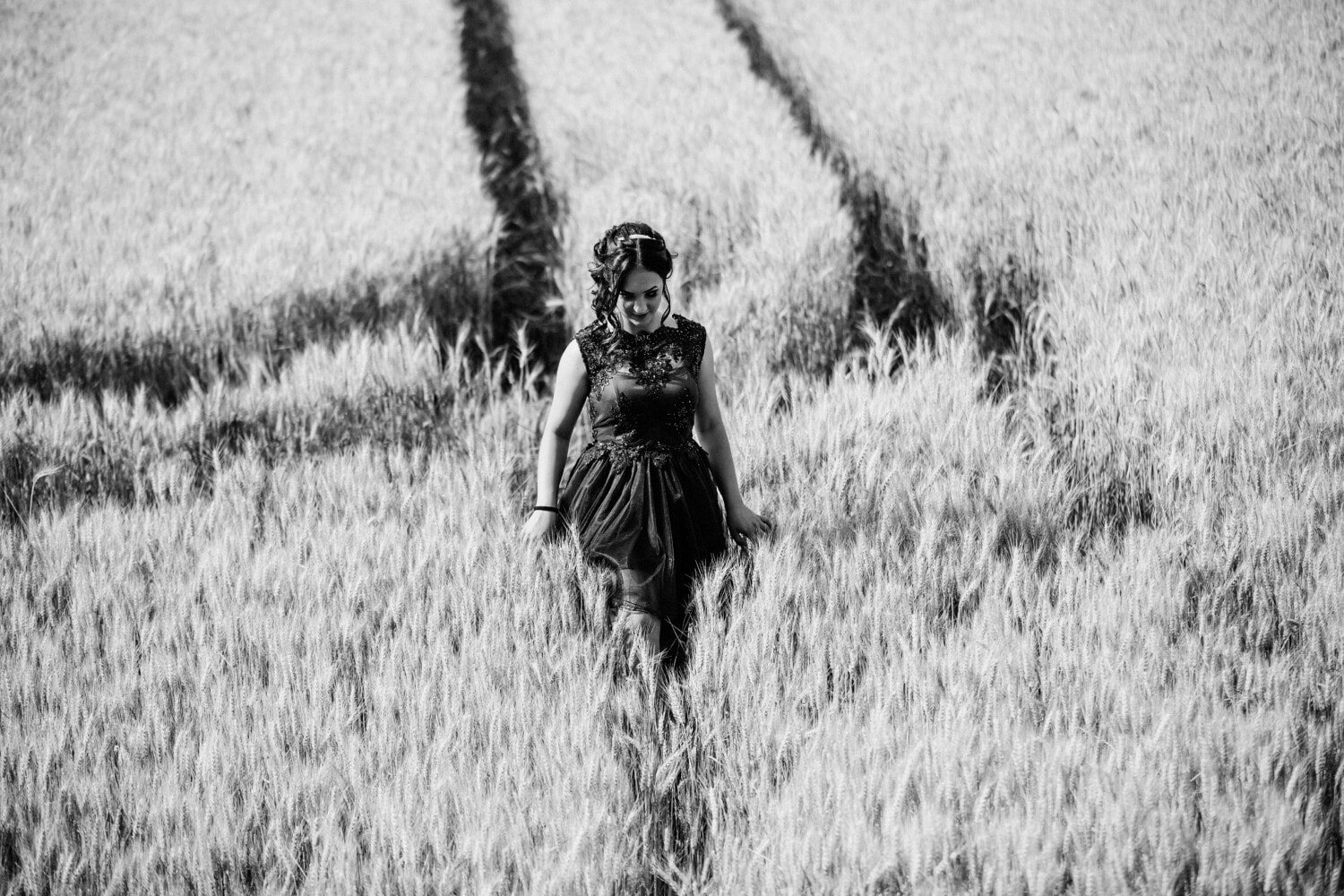 monochrome, wheatfield, pretty girl, walkway, woman, field, grass, nature, girl, outdoors