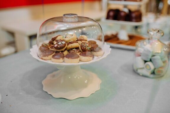 cookies, handmade, chocolate, underneath, glass, plate, food, meal, indoors, sweet