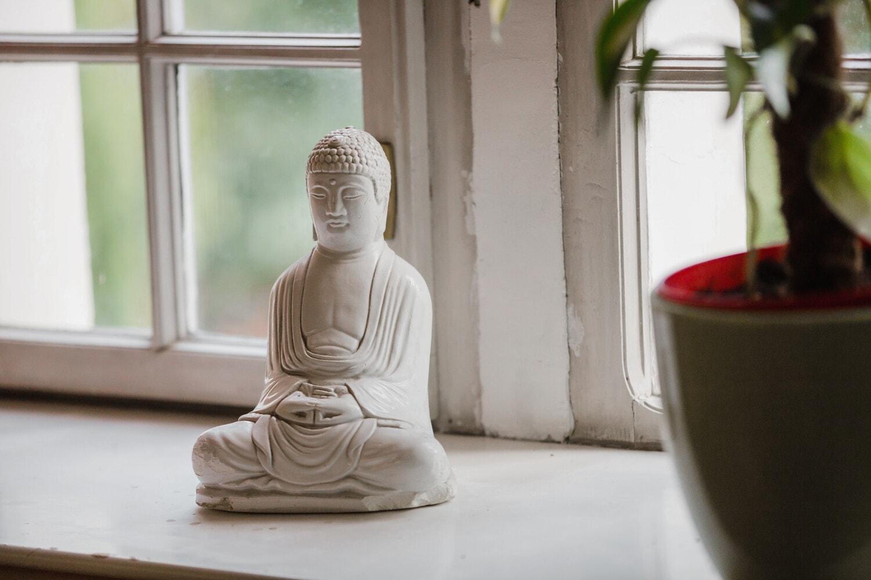 Buddha, Buddhismus, Miniatur, Figurin, Skulptur, fenster, weiß, Schweller, Fenster, Kunst
