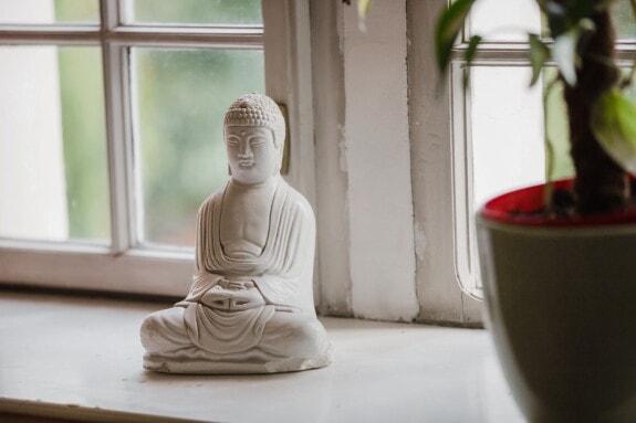 Buddha, Buddhism, miniature, figurine, sculpture, windows, white, sill, window, art