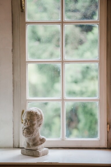 miniature, sculpture, bust, figurine, small, house, sill, door, window, architecture