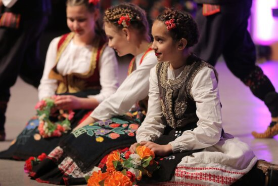 girls, sitting, costume, traditional, folk, outfit, child, festival, dancing, people