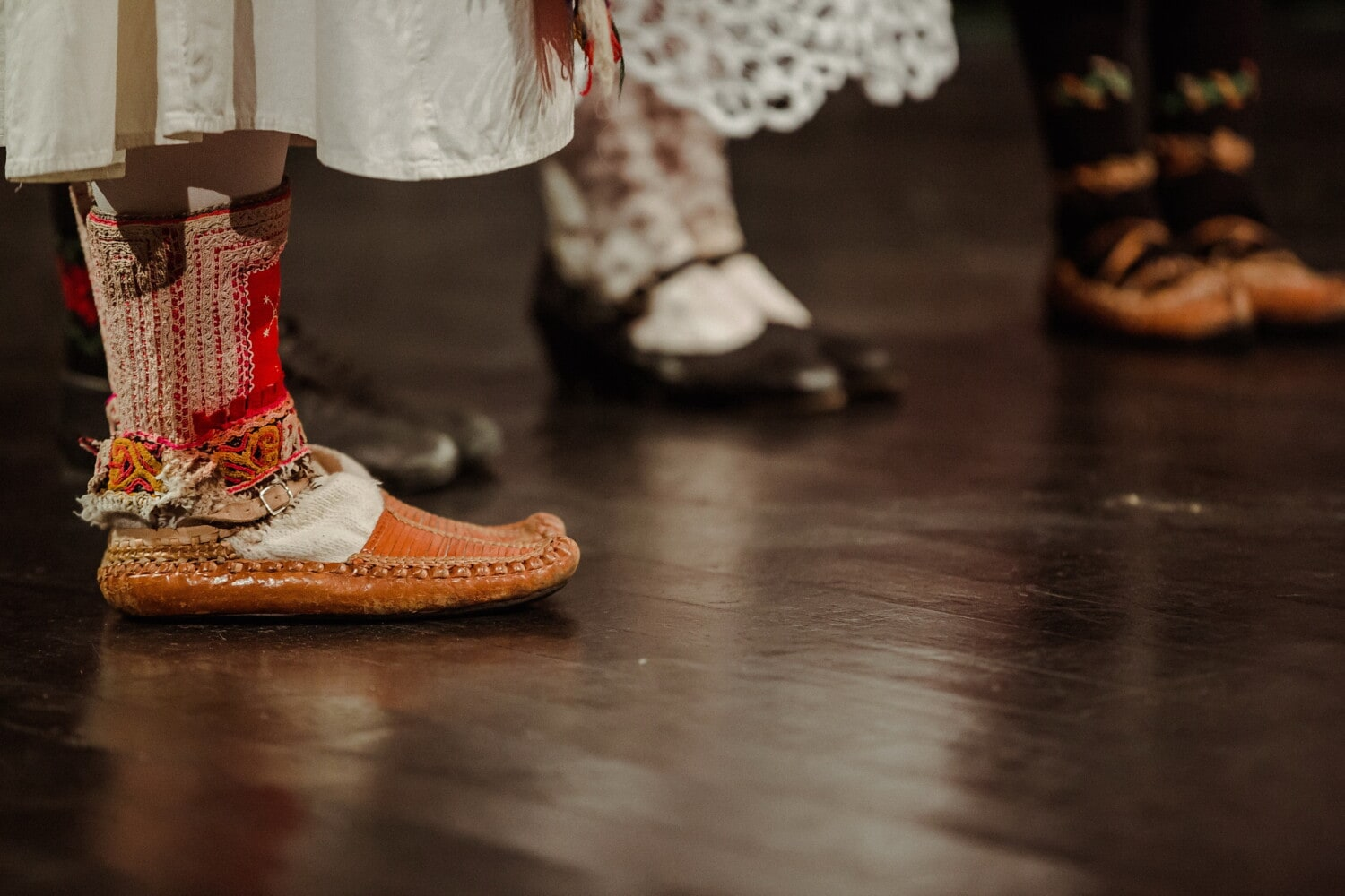 chaussures, en cuir, Outfit, traditionnel, chaussettes, danse, populaire, mode, chaussures, pied