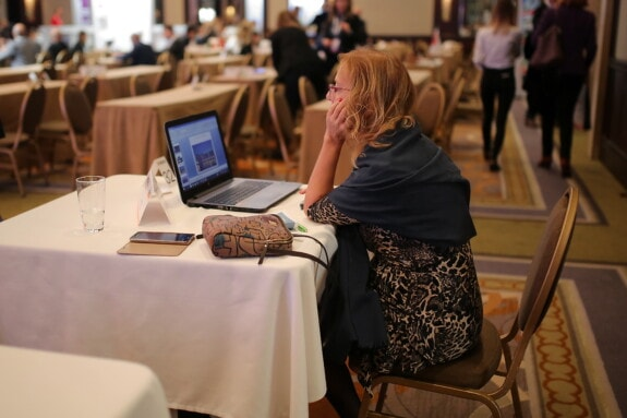 conference, businesswoman, laptop computer, woman, computer, office, laptop, table, indoors, furniture