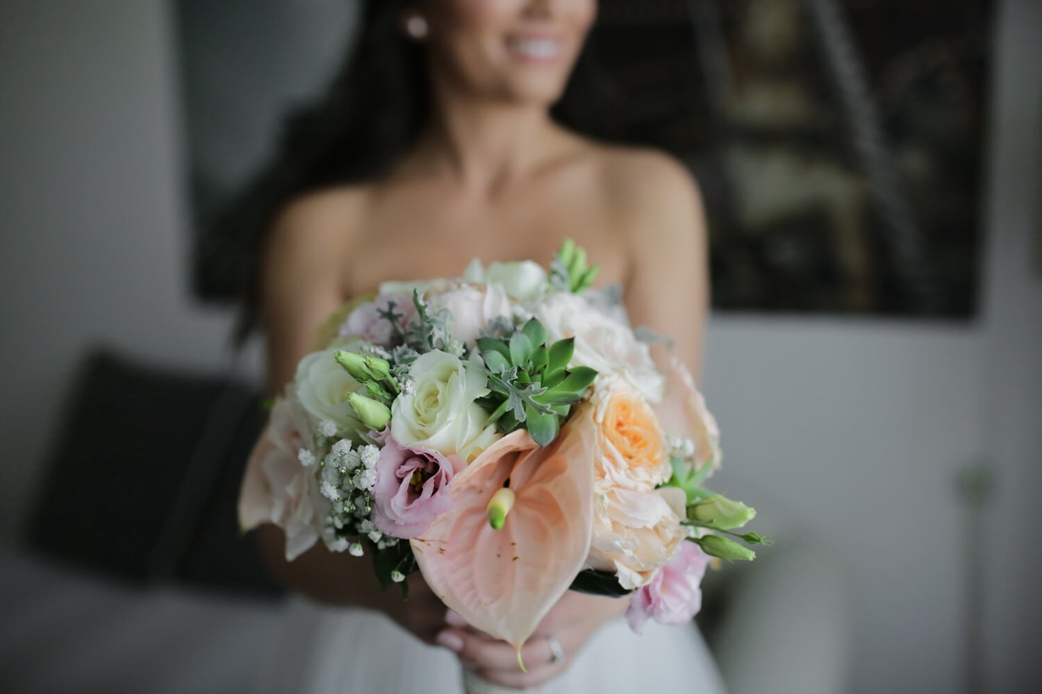 bedroom, bride, wedding bouquet, smiling, marriage, wedding, bouquet, love, decoration, woman