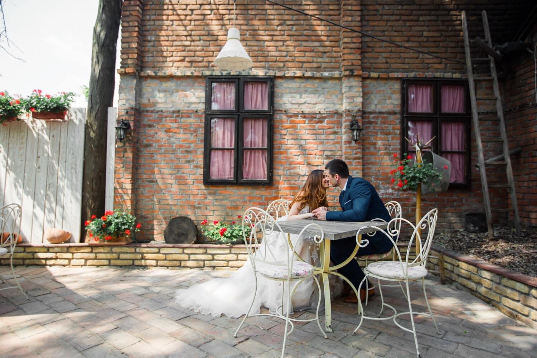 vintage, village, date d'amour, romantique, baiser, Dame, gentilhomme, région, structure, patio