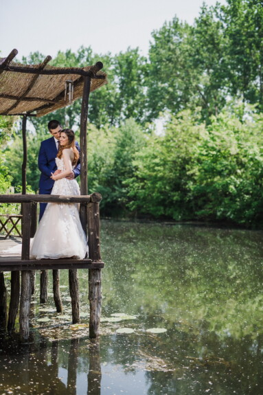 bride, gentleman, groom, lady, canal, wilderness, riverbank, people, outdoors, water