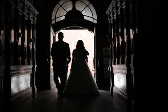 shadow, husband, hallway, darkness, backlight, wife, people, wedding, indoors, architecture