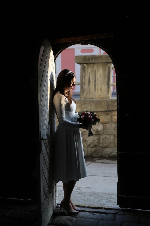 bride, standing, front door, gateway, shadow, entrance, darkness, dress, wedding, people