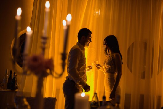 boyfriend, girlfriend, champagne, love date, atmosphere, romantic, candles, affection, emotion, people