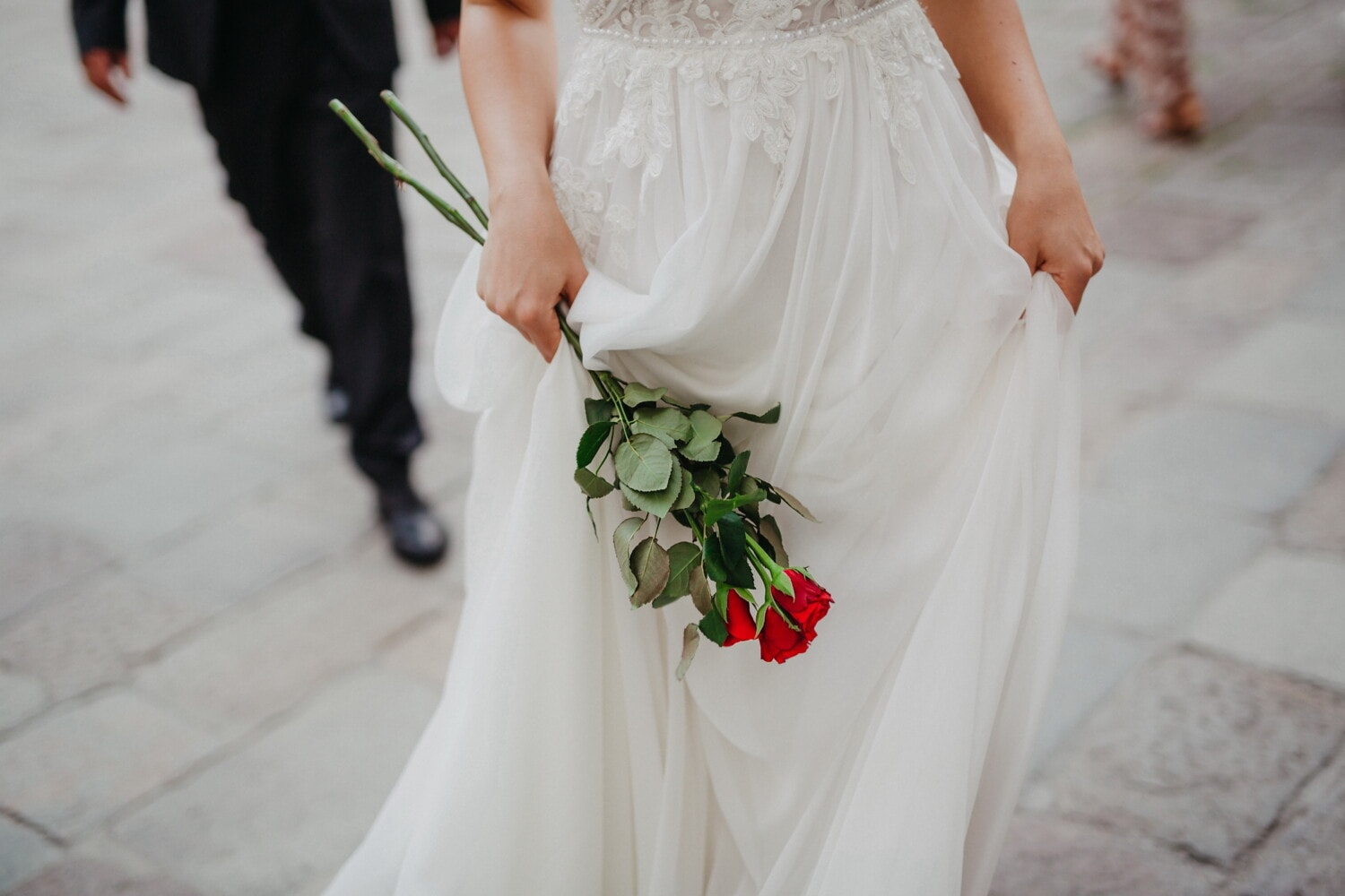 walking, bride, holding, roses, romantic, wedding dress, marriage, woman, fashion, engagement