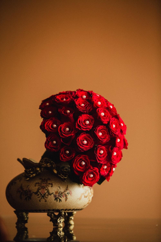 nature morte, rouge, bouquet, perle, fleur, art, Rose, vintage, belle, décoration