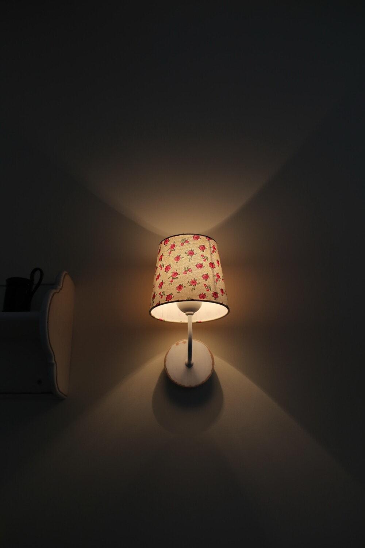 bedroom, lamp, wall, shadow, vintage, darkness, shelf, dark, shade, light