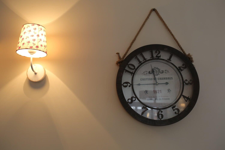 vintage, hanging, analog clock, wall, lamp, retro, instrument, clock, time, antique