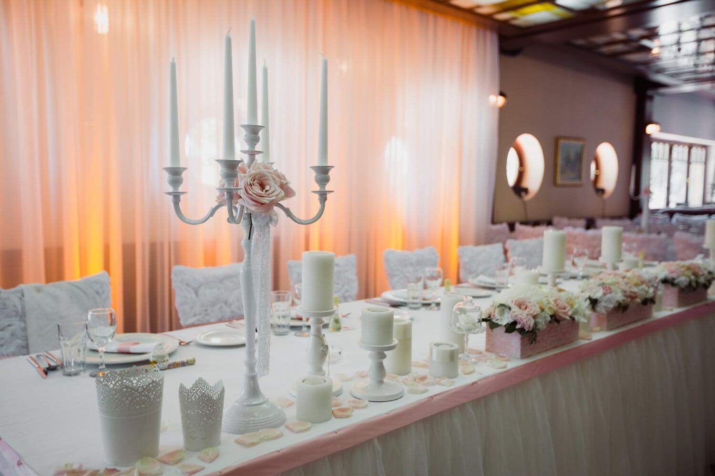 wedding venue, empty, candles, candlestick, elegant, fancy, reception, room, table, furniture